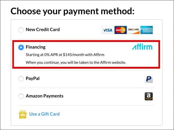 Finance online purchases with Affirm